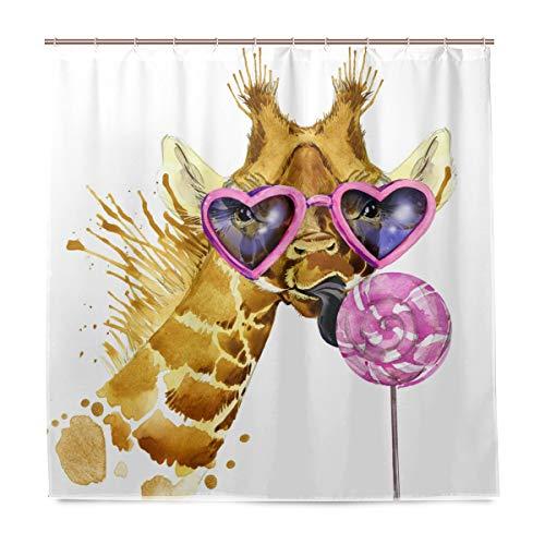 BIGJOKE Duschvorhang, Giraffe, Tropische Süßigkeiten, schimmelresistent, wasserdicht, Polyester, 12 Haken, 183 x 183 cm, Heimdekoration