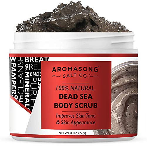 Aromasong 100% Pure Dead Sea Body Scrub, Dead Sea Mud with Dead Sea Salt Only, Natural Cream Exfoliant, Stretch Mark & Wrinkle Reducer Soothing Reliefs Sore Muscles, Body Scrub for Women & Men, 8oz.