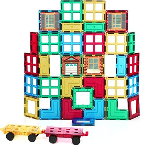 Shapemags 42 Pcs Magnet Building Tiles Magnetic Blocks - Windows and Doors Set, Award Winning STEM Educational 3D Construction Blocks