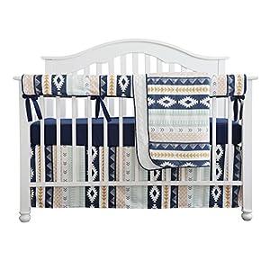 Baby Boy Crib Bedding Arizona Woodland Tribal Aztec Buck Nursery Crib Skirt Set Minky Blanket Navy Crib Sheet Crib Rail Bedding Set (Navy Aztec Buck, 4 Pieces Set)