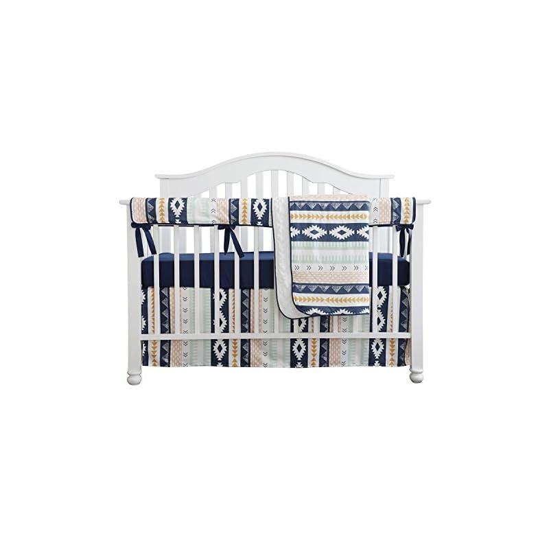 crib bedding and baby bedding baby boy crib bedding arizona woodland tribal aztec buck nursery crib skirt set minky blanket navy crib sheet crib rail bedding set (navy aztec buck, 4 pieces set)