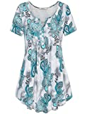 Bebonnie Blouses for Women, Womens V Neck Short Sleeve Casual Printed Vintage Button-up T Shirts Tops Green Grey L