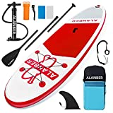 ALanber Inflatable Paddle Board 10'6'x32'x6' Ultra-Light (18.6lbs) - Non-Slip SUP with Backpack, Adj Stand Up Paddle Board Paddle, Safety Leash & Hand Pump in River, Oceans and Lakes (Red)