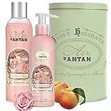 Französisches Geschenkset Für Frauen/Duft Rose, Pfirsich, Patchouli/ 1 Bio-Rosen-Duschgel 250ml +...