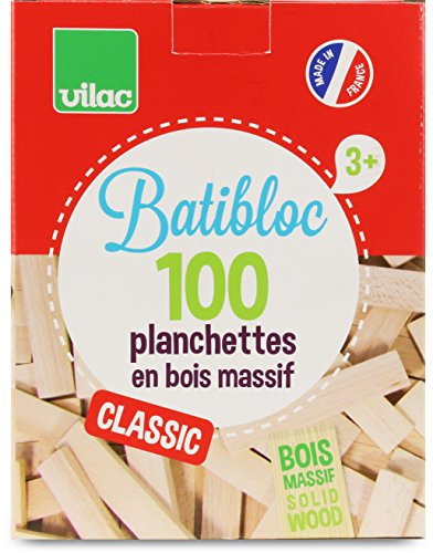 VILAC - Jeu de Construction - Batibloc - Petit Bâtisseur Naturel - 100 Pièces - Hêtre Massif du Jura - 2135