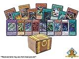 100 Card Yugioh Lot with 5 Secret Rares! Includes Golden Groundhog Treasure Chest Storage Box!