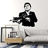 Wall Stickers Vinyl Decal Scarface Gangster Mafia Shooting (ig1678) (L 28.5 in X 34.2 in)