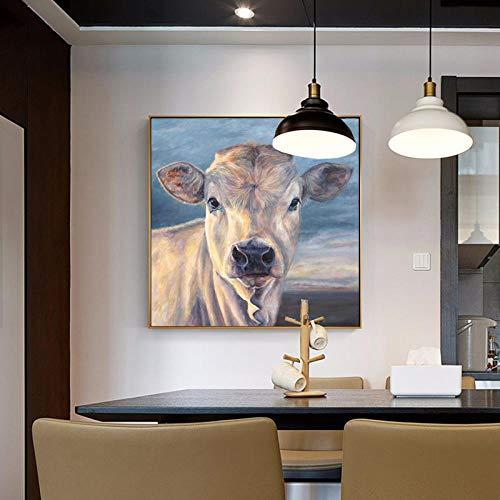 Leinwanddruck Abstrakt Wandbild Tier Niedliche Kuh Kunstdruck Leinwanddruck Wohnzimmer Schlafzimmer Anpassbare Größe 70X70Cm Kein Rahmen