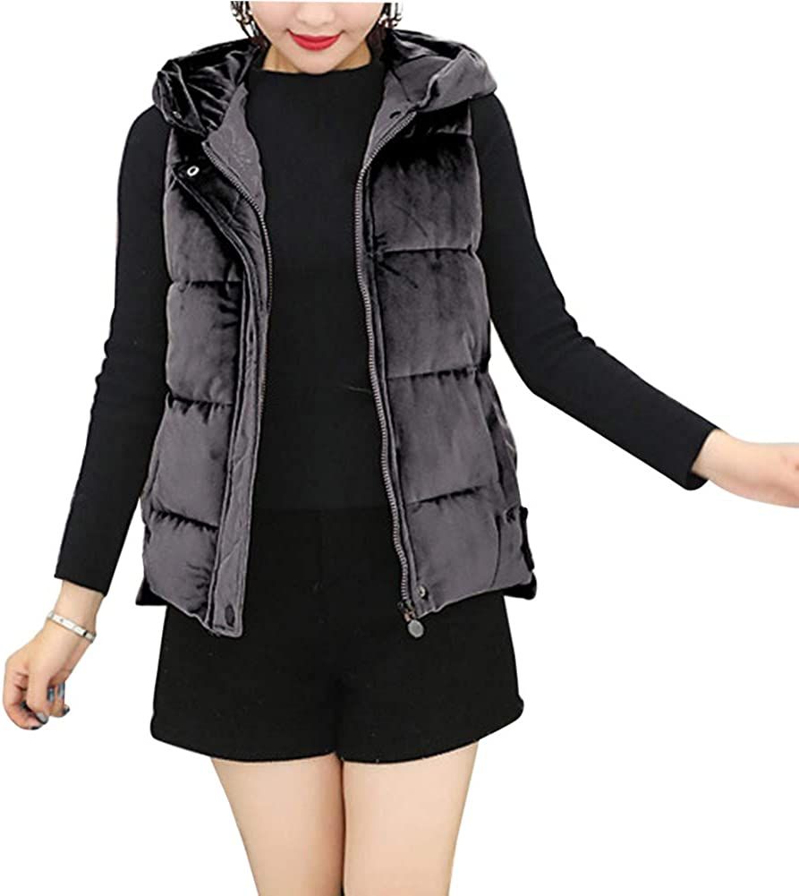 Yudesun Women Jackets Down Gilets Coats Quilted Cotton Padded Hooded Waistcoat