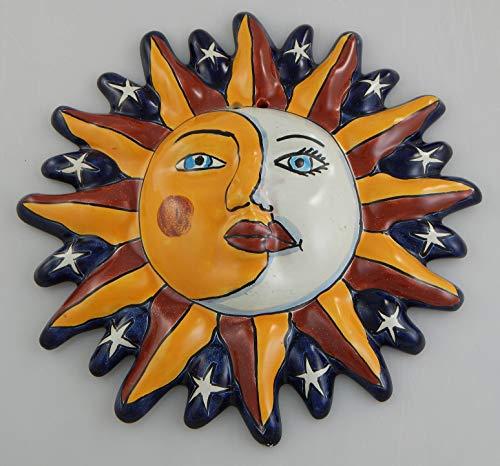 Mexikanische Talavera-Keramik-Sonnengesichts-Wanddekoration zum Aufhängen, Keramik, Volkskunst # 23