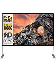 Projector Screen with Stand 100 inch Portable Projection Screen 16:9 4K HD Rear Front Projections Movies Screen with Carry Bag for Indoor Outdoor Home Theater Backyard Cinema Travel
