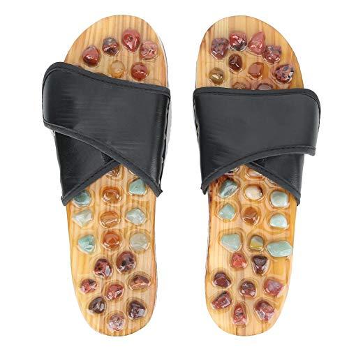 Sandali unisex per massaggiare i piedi, con pietra di agata e agopuntura per la cura della salute, adatti per uomini e donne (nero) (39)
