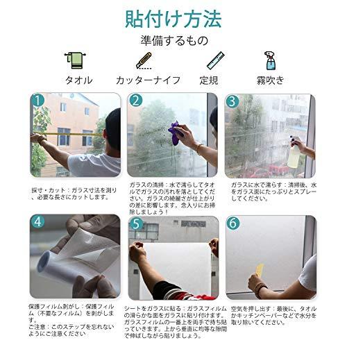 [Amazon限定ブランド]窓めかくしシート窓用フィルムガラスフィルムUVカット窓飾りシート断熱遮光水で接着貼り直し可能AIDON(60*200cm)