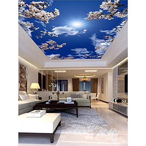 Carta da parati grande 3D Bellissimo fiore di ciliegio Cielo blu Nuvola bianca Soffitto Zenith Murale Soggiorno 3D 300X220Cm