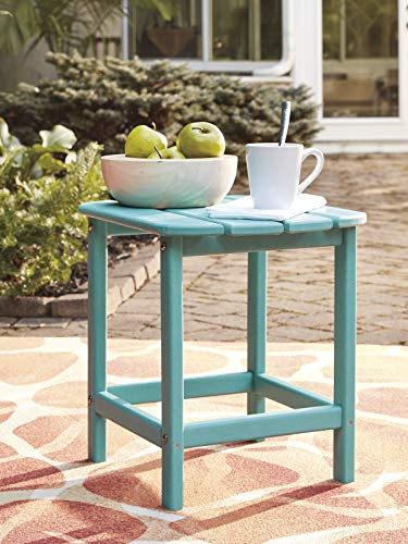 Ashley Furniture Signature Design - Sundown Treasure Outdoor End Table - Hard Plastic - Slat Top - Turquoise