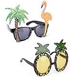 CheeseandU 2Pack Funny Party Glasses Pineapple Flamingo Coconut Tree Shape Party Glasses Hawaiian Tropical Theme Sunglasses for Summer Fancy Ball Dress Adults&KidsCostume Accessory
