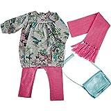 Käthe Kruse 0154804 Sweatkleid grau mit Ringellegging 52-56 cm, pink
