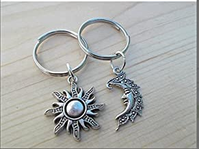 ON SALE Set Of 2 Sun And Moon Keychains, Keychain, Best Friends, Key Chain Set,My Sun, My Moon, Wedding Favors