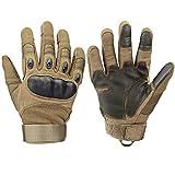 Xnuoyo Caoutchouc Hard Knuckle Doigt Complet et Demi Doigt Gants Gants de Protection Écran Tactile Gants pour Moto Vélo Chasse Escalade Camping (marron, L)