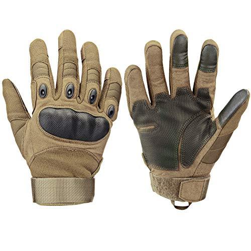 Xnuoyo Gloves Gummi Hart Vollfinger und Halbe Fingerhandschuhe Schutzhandschuhe Touchscreen Handschuhe für Motorrad Radfahren Jagd Klettern Camping (L, braun)