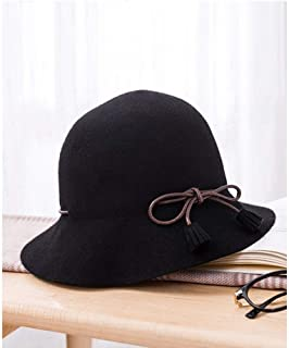 YANGBM Ms. Hat, Wool Blend Hat, Male and Female British Retro Hat, Foldable Hat, Knitted Hat, Warm Autumn and Winter Hats, Clothing Accessories, (Color : Black)