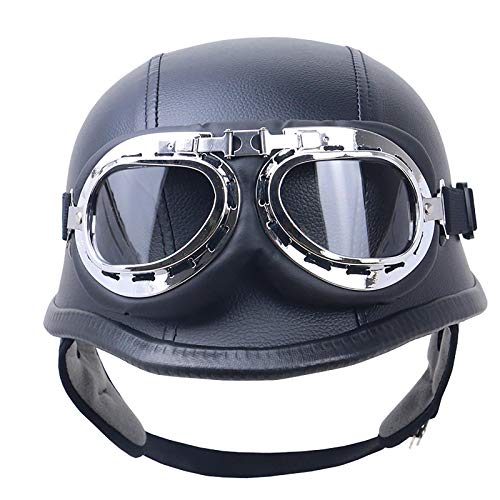 HZIH Casco de Moto Retro,Medio Cascos con Gafas de Protección Casco Moto De Cara Abierta,ECE Homologado Four Seasons Universal Moto Cascos Half-Helmet L=59~60cm