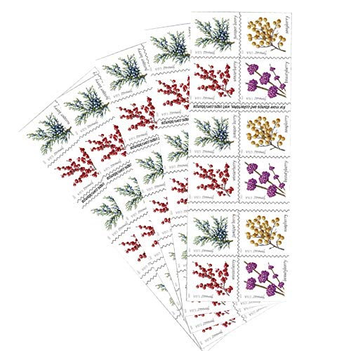 Winter Berries 5 Books of 20 First Class Forever US Postage Stamps Wedding Celebrate Engagement (100 Stamps)