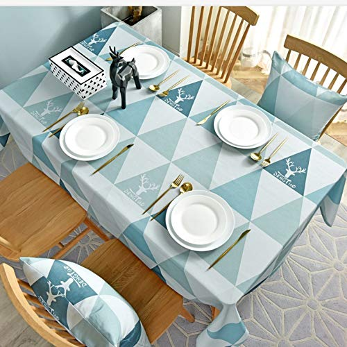 WSJIABIN Home Decoration Tablecloth Nordic Christmas Elk Waterproof and Oilproof Green Geometric Triangle Table ClothTea Table Cloth Rectangular Cover Towel Table Cloth