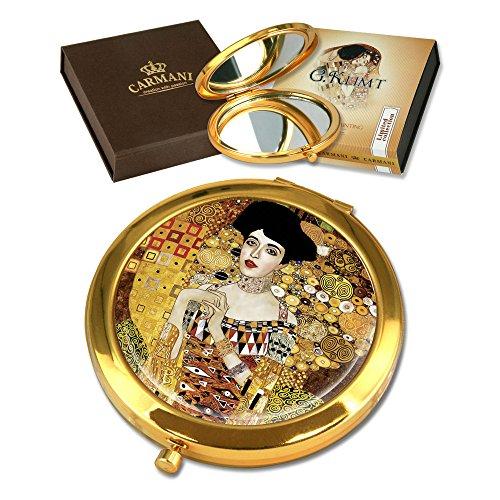 CARMANI - Plaqué Or Bronze Poche, Compact, Voyage, Miroir décoré avec de la Peinture de Klimt 'Adele Bloch'
