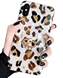 J.west iPhone Xs Max Case 6.5-inch, Luxury Sparkle Translucent White Leopard Print Cheetah Pattern with 360° Rotatable Ring Holder Kickstand Soft TPU Silicone Protective Phone Case for Women Girls