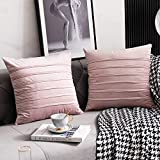 DEZENE 18x18 Pink Throw Pillow Covers: 2 Pack Cozy Soft Striped Velvet Square Decorative Pillow Cases for Couch