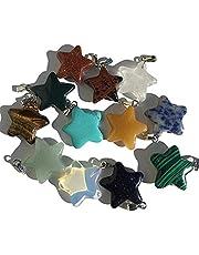Uppsättning av 12 stycken färgglada halvädelstenar stjärnor hänge smycken stenar halvädelstenar helande stenar stenpärlor halvädelstenpärlor pysselpärlor agat pyssel smycken gör smycken pärlor av halvädelstenar från Crealal King