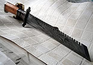 REG-324, Handmade Damascus Steel 17 Inches Hunting Knife - Beautiful Stained Bone and Marindi Wood Handle