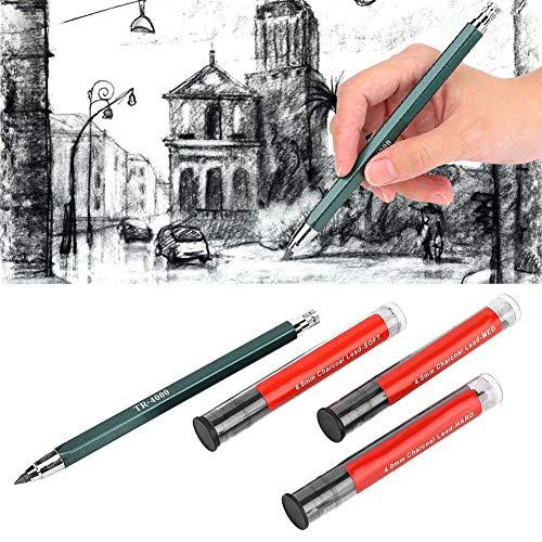 fasient Núcleo de lápiz de carbón, lápiz cómodo de Color Puro, lápiz automático borrable, 4 Piezas para Pintor de Estudiantes