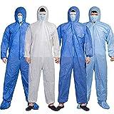Mono de protección Houmal, bata de seguridad desechable para laboratorio, mono de aislamiento con capucha, protección unisex Azul oscuro 1 XXL