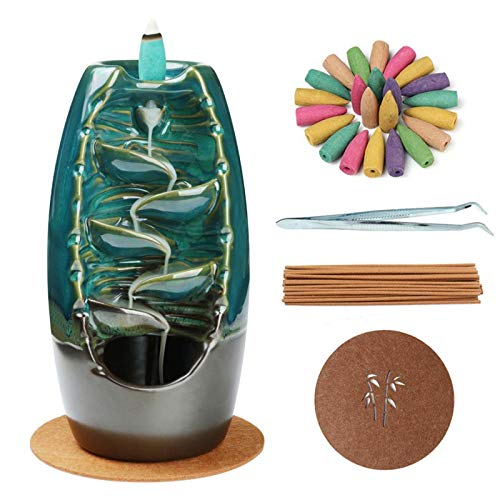Rückfluss-Räuchergefäß, Räucherstäbchenhalter, Keramik, handgefertigt, mit Rückfluss-Räucherkegeln, Krankheitsset für Aromatherapie, Ornament, Heimdekoration