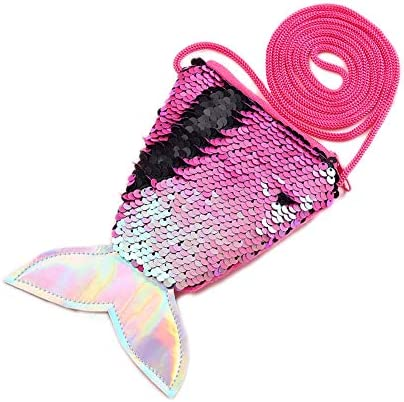 Starte Small Mini Coin Purse Messenger Bag Crossbody Satchel for Kids Girls Mermaid Sequin Bling product image