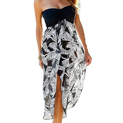 Eiffel Women's Boho Chiffon Off Shoulder Vacation Holiday Summer Beach Long Maxi Dress Swimwear (X-Large, Printed)
