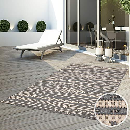 CC Teppich In-Outdoor Wetterfest Beige-Grau 80x150cm Oeko-Tex Standard 100% Polypropylen Allergiker geeignet