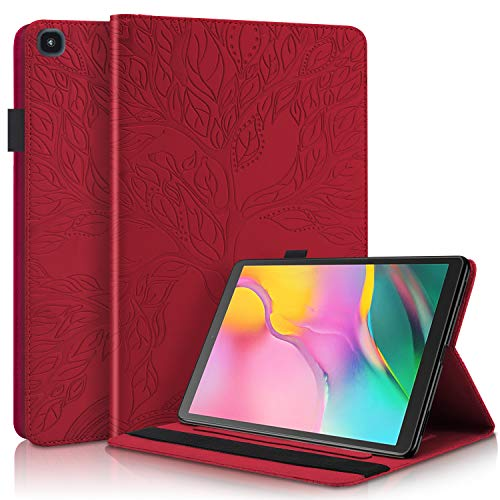 CaseFun Case for Samsung Galaxy Tab A 10.1 2019 T510/T515 Slim PU Leather Tree of Life Flip Wallet Stand Cover Anti Slip with Pencil Holder Card Holder, Red