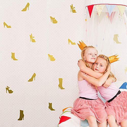 LSDAEER Slaapkamer Muurstickers Cartoon Kinderkamer Muurachtergrond Decoratieve Muurstickers Droom Prinses Hoge Hakken Combinatie Stickers Goud