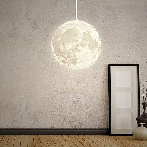 Pendelleuchte Mond Hängeleuchte PLA Moon Pendelleuchten Industrielle Deco Lampe Beleuchtung Leuchte Universum Planet Mond Deckenleuchten Höhenverstellbar Für Lounge Restaurants Keller Bars Φ 25Cm