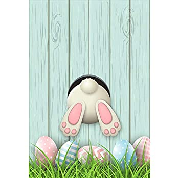 Laeacco 6.5x10ft Easter Egg Hunt Photography Background Spring Nature View Green Grassland Cute Bunny Rabbit Wooden Backdrop Studio Prop Photo Video
