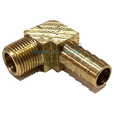 "EDGE INDUSTRIAL 1/2"" Hose ID to 3/8"" Male NPT MNPT 90 Degree BARSTOCK Elbow Brass Fitting Fuel / AIR / Water / Oil / Gas / WOG"