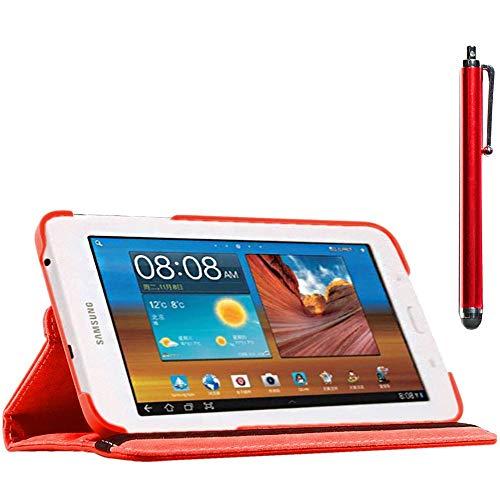 ebestStar - kompatibel mit Samsung Galaxy Tab 3 Lite 7.0 Hülle SM-T110, VE SM-T113 Rotierend Schutzhülle Etui, Schutz Hülle Ständer, Rotating Hülle Cover Stand +Stift, Rot [Tab:193.4x116.4x9.7mm 7.0