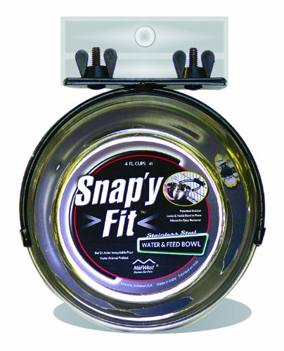 MidWest Homes for Pets Snap'y Fit Stainless Steel Food Bowl / Pet Bowl, 1 qt. for Dogs & Cats