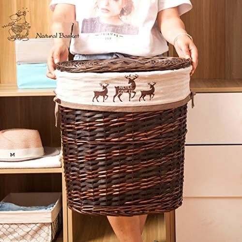 YCL-panier à linge Grande capacité Maison Simple Rotin Coton Art Déco Lin Panier À Linge Avec Couvercle Panier De Rangement Privé Salle De Bains Panier À Linge (Taille : 41x30x46cm)