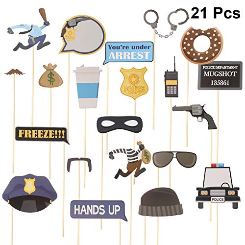 PRETYZOOM 21Pcs Police Photo Booth Props Kit Fun Police Party Supplies for Kids Police Birthday Party Decorations, Police Dress Up, Galore Cops and Robbers Role Play and Halloween