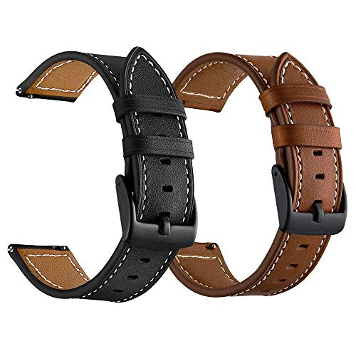 LDFAS Compatible for Fossil 22mm Band, (2 Pack) Leather Strap with Black Buckle Compatible for Fossil Gen 5 Carlyle/Julianna/Garrett HR, Q Explorist Gen 4/3, Sport 43mm, Smartwatch, Brown+Black