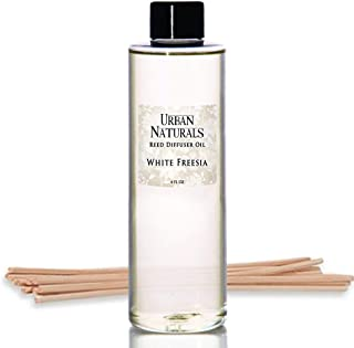 Urban Naturals White Freesia Reed Diffuser Oil Refill + Free Set of Reed Sticks! 4 oz | Freesia Petals, Hyacinth & White Musk | Long Lasting Room Scent
